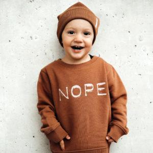 Kinder Sweatshirt Nope Karamell